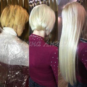 итальянское наращивание волос пример до и после