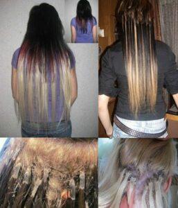 некачественное наращивание волос