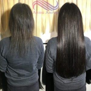 объем наращивания волос 100-120 капсул на короткие и не густые
