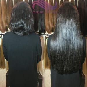 объем наращивания волос 200 капсул на короткие и густые волосы