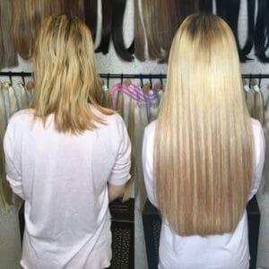 наращивание 200 прядей/капсул волос комбинацией двух цветов (рыжий и светло-русый)