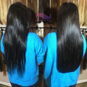 наращивание 60 обычных прядей для загущения своих родных волос