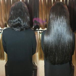 наращивание 320 стандартных прядей на очень густые и короткие волосы. цвет темный шоколад