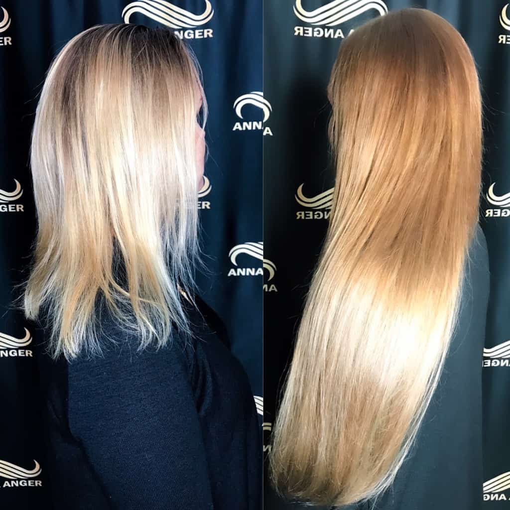 наращивание волос в СПб с окрашиванием от Анны Ангер 275 капсул нано