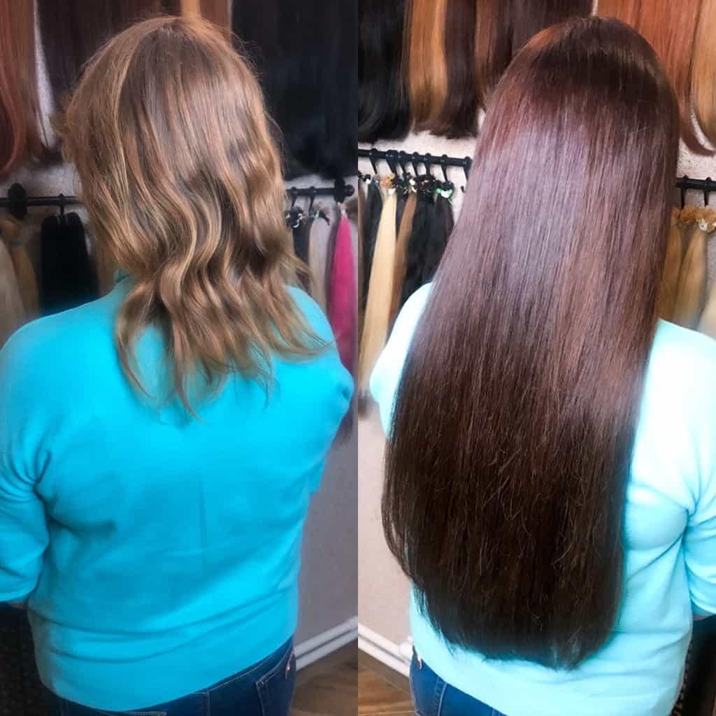 наращивание волос в СПб с окрашиванием от Анны Ангер 200 капсул микро