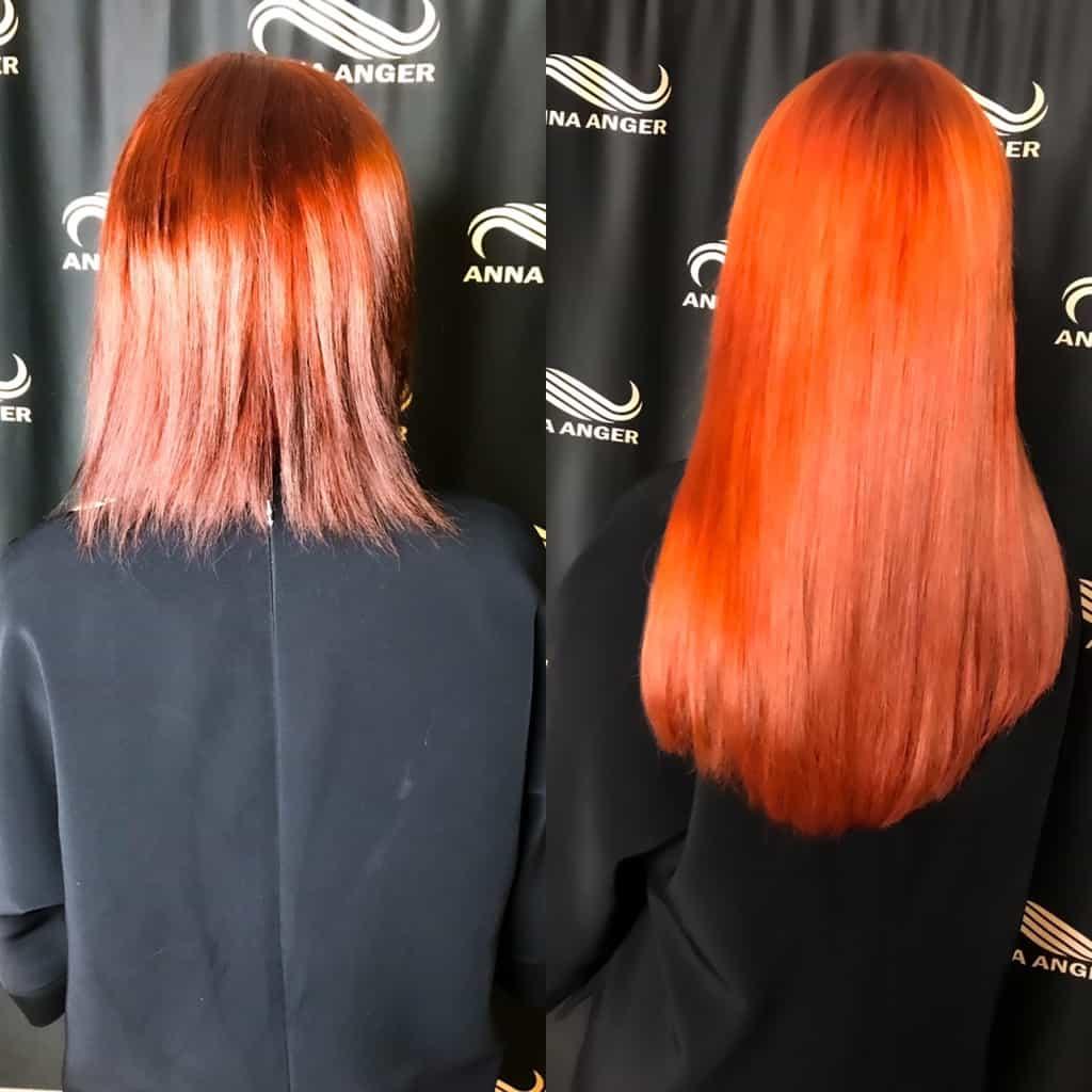 наращивание волос в СПб с окрашиванием от Анны Ангер 570 капсул нано